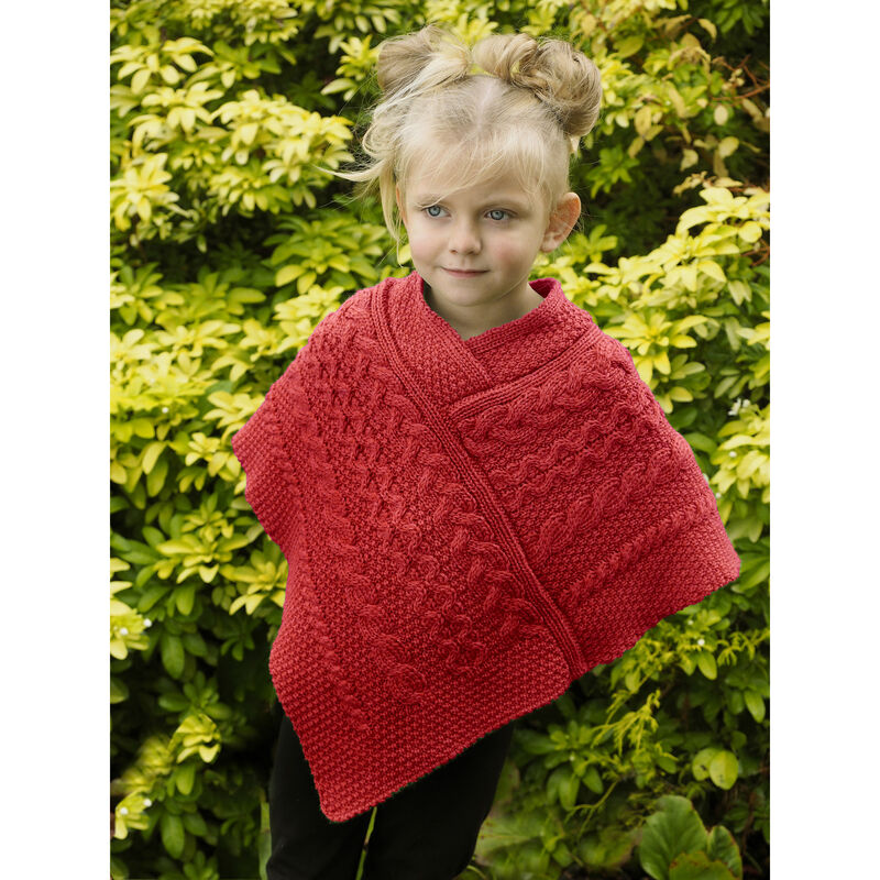 100% Merino Wool Kids Poncho With Aran Knitted Design, Cherry Colour
