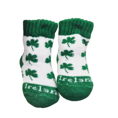 White Newborn Bootie Socks With Green Shamrock Print