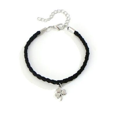 Celtic Leather Thick Plaited Bracelet With Shamrock Charm, Black Colour