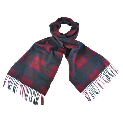 Celtic Irish Wool Scarf With Burgundy  Red and Blue Tartan Design