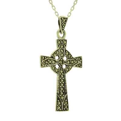 Hallmarked Sterling Silver Marcasite Celtic Cross Pendant  Presented In A Box