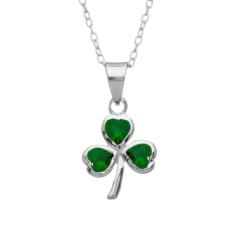 Hallmarked Sterling Silver Shamrock Pendant With Emerald Glass Design