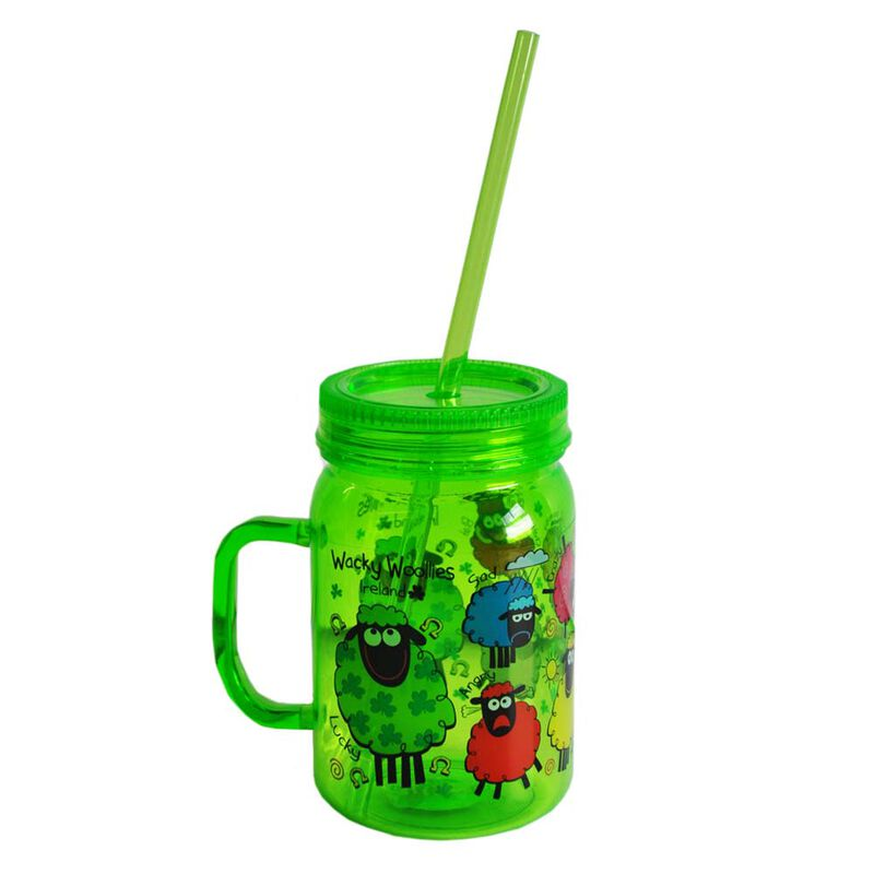 Wacky Woollies  Designed Mason Jar With Straw  Green In Colour