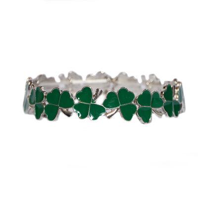 Shamrock Celtic Charm Designed Stretch Bracelet