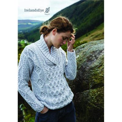 Bramble Merino Wool Aran Shawl Collar Sweater, Silver Marl Colour