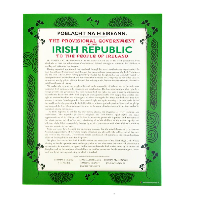 8 by 10 Hanging Wall Decoration with the Irish Proclamation