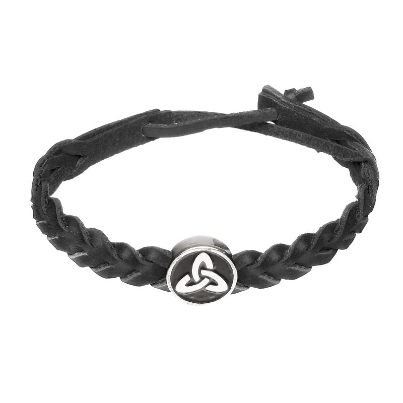 Black Leather Plaited Wristband with a Circular Black and Silver Trinity Knot Charm