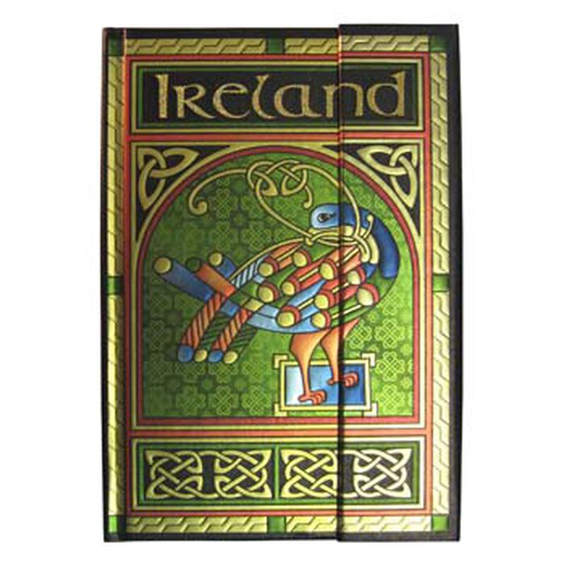 Celtic Peacock Foil Ireland Notebook With A Coloured Trinity Irish Design