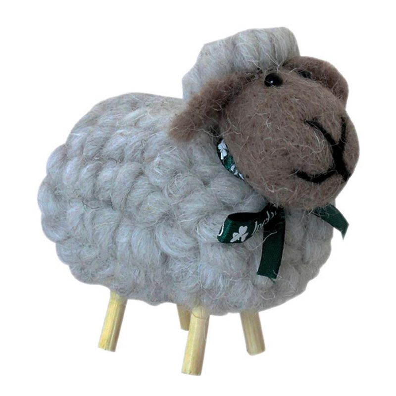 Irish Ornament With Grey Cotton Designed Sheep on Stick Legs