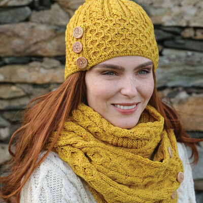 100% Merino Wool Bobble Hat With Three Wooden Buttons Design  Yellow Colour