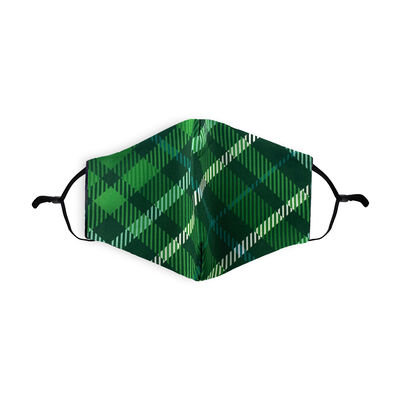 Re-Usable Face Covering Green Tartan With Adjustable Ear Loops & Filter