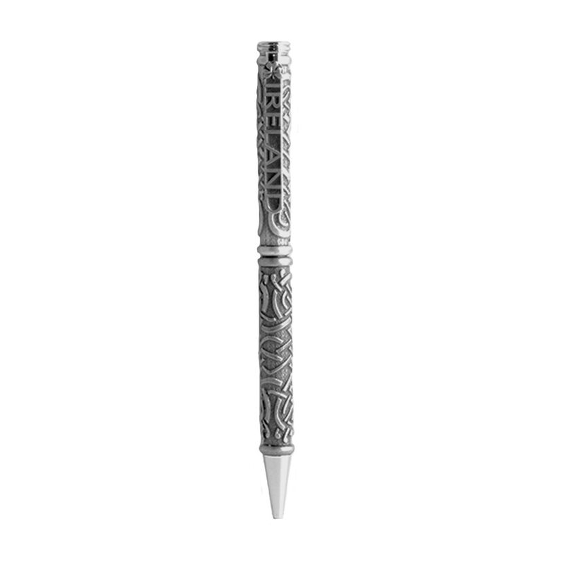 Mullingar Pewter Luxury Pen with a Celtic Knot Design and Ireland on the Lid