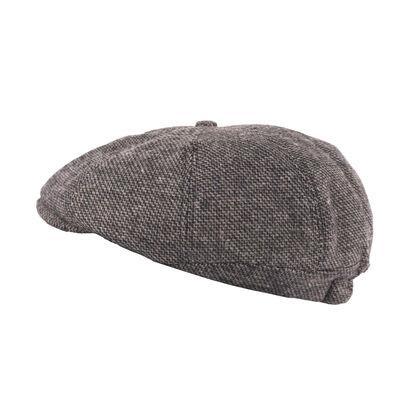 Heritage Traditions Herringbone Tweed Peaky Stud Flat Cap, Grey Colour