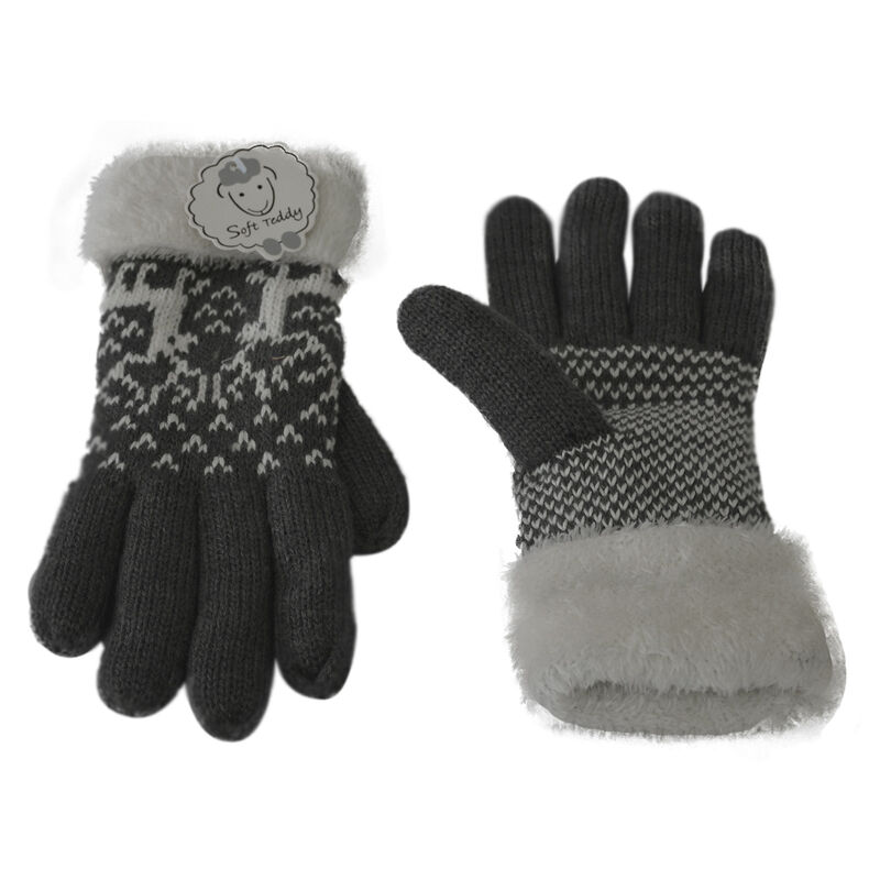 Super Soft One Size Adult Gloves With Faux Fur And Stitched Deer Design