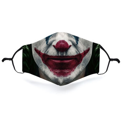 Re-Usable Face Covering Joker Design With Adjustable Ear Loops & Filter