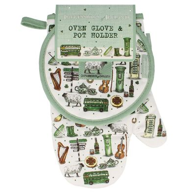 Impressions Of Ireland Oven Glove And Pot Holder With Irish Icons Design