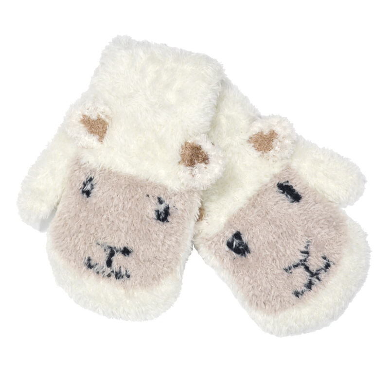 Patrick Francis Ireland Kids Woolly  Sheep Face Mittens  Cream Colour