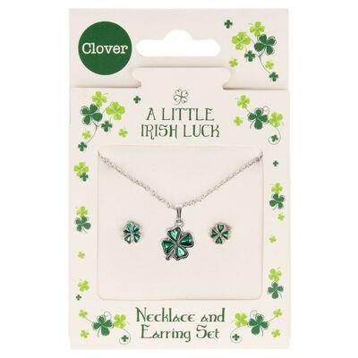 A Little Irish Luck Green Petal Four-Leaf Clover Jewellery Set