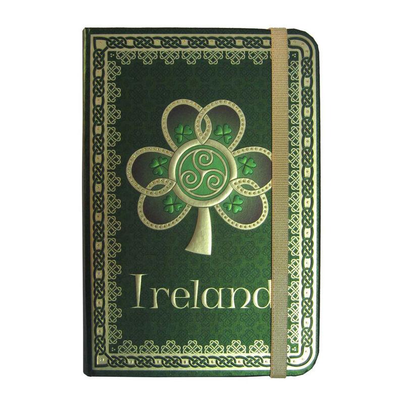 Foliertes Irland-Notizbuch mit Kleeblatt  Spirale und grünem  keltischem Muster