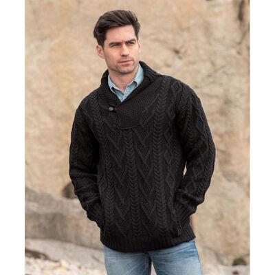 100% Merino Wool Shawl Collar Aran Cable Sweater, Black Colour