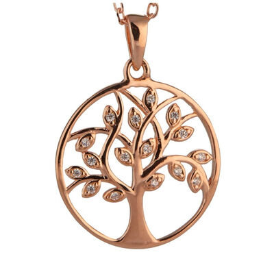 Sterling Silver Rose Gold Plated Tree Of Life Pendant With Cubic Zirconia Stones