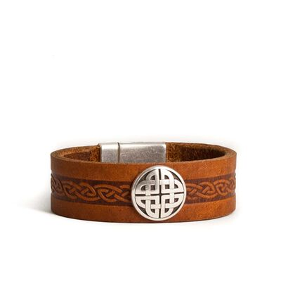 Lee River 20mm Genuine Brown Leather Wristband with Intricate Celtic Design