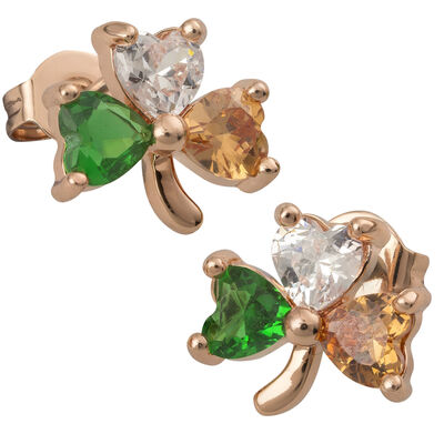 Rose Gold Plated Shamrock Earrings With Tri-Colour Heart Shaped Cubic Zirconia