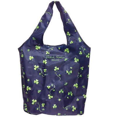 Patrick Francis Navy Colour Beautiful Folding Shopping Bag With Shamrock Design