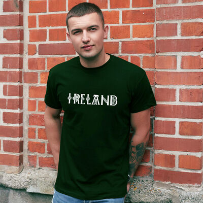 Ireland T-Shirt With Celtic Design And Irish Blessing, Bottle Green Colour
