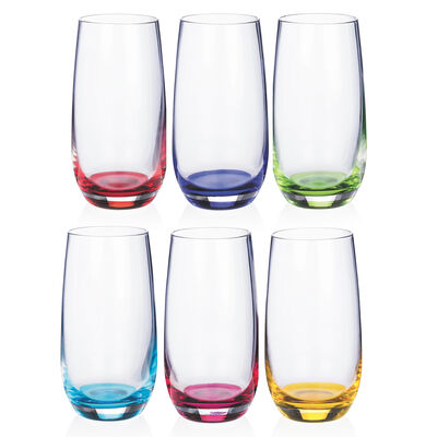 Newgrange Living Rainbow Hi-Ball Glasses, Set of 6
