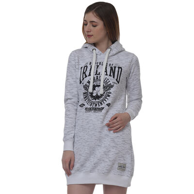 Pullover Ladies Longline Hoodie With Republic Of Ireland Celtic Nations Established Nineteen Twenty Two  Grey Colour