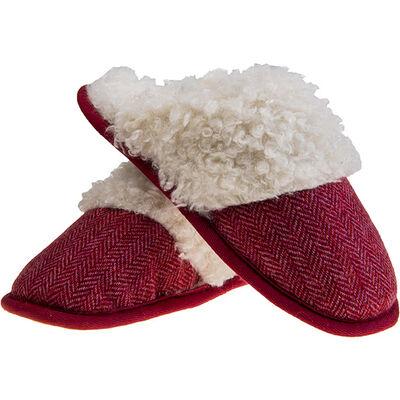 Aran Woollen Mills Kerry Tweed Slip on Slipper, Pink Colour