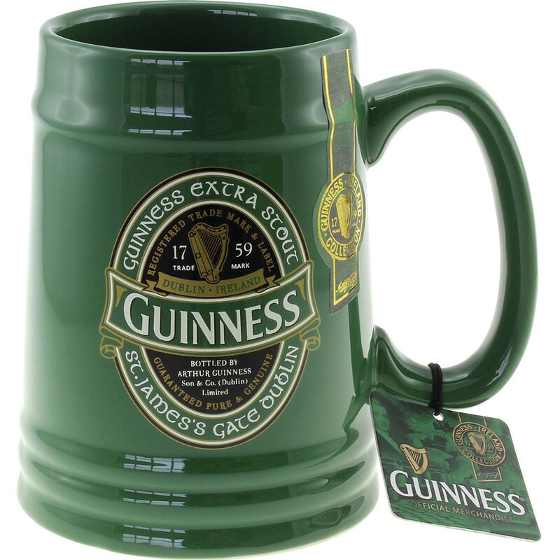Green Ceramic Tankard with St. James Gate Label - Guinness Ireland Collection