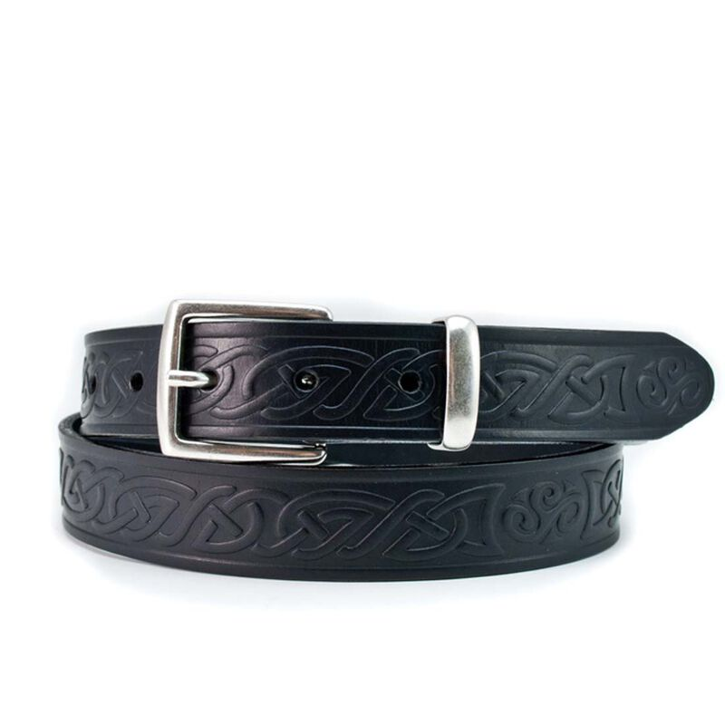 Lee River 30mm Genuine Black Leather Belt with a Celtic Design