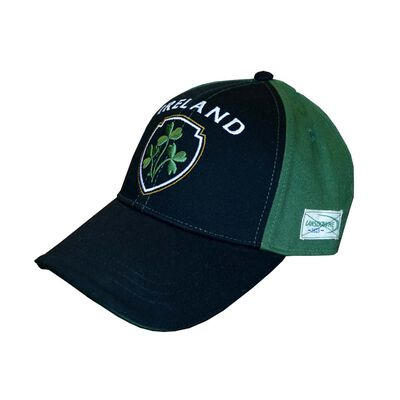 Baseball Cap With Half Green  Half Black With Embossed Ireland And Shamrock Crest