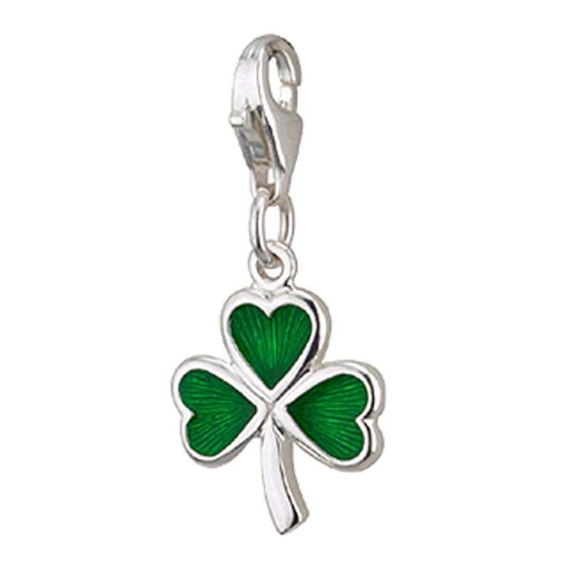 Shamrock Charm With Emerald Coloured Inlay  Hallmarked Sterling Silver