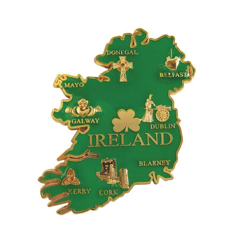 Ireland Map Gold Metal Magnet