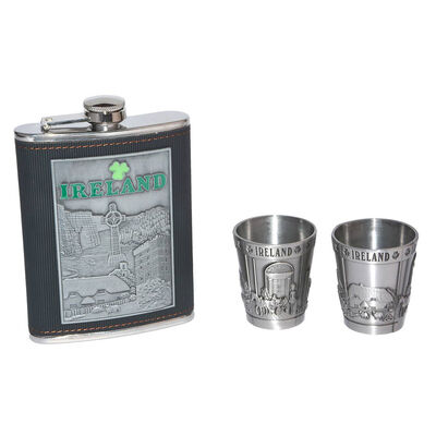 Ireland Collage Stainless Steel Hip Flask Gift Set With Two Shot Glasses