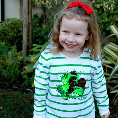 Kids Sweater With Shamrock Ireland Two Way Sequin Design, White With Green Stripes Colour