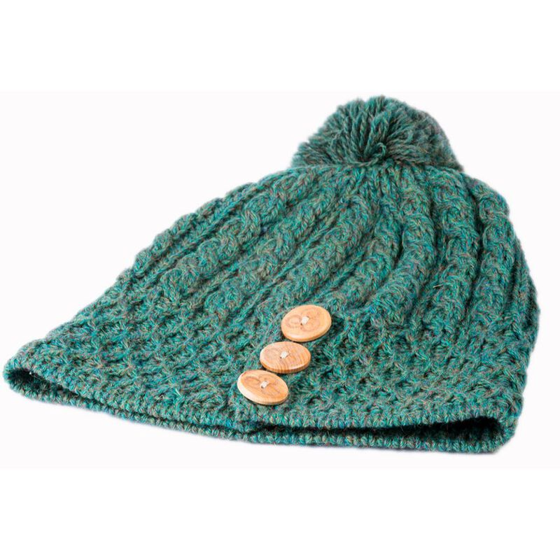 100% Merino Wool Aran Knit Hat With Pom Pom  Forest Green Colour