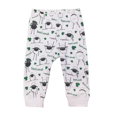 Babies Ireland Leggings With Sheep And Shamrock Designs White Colour