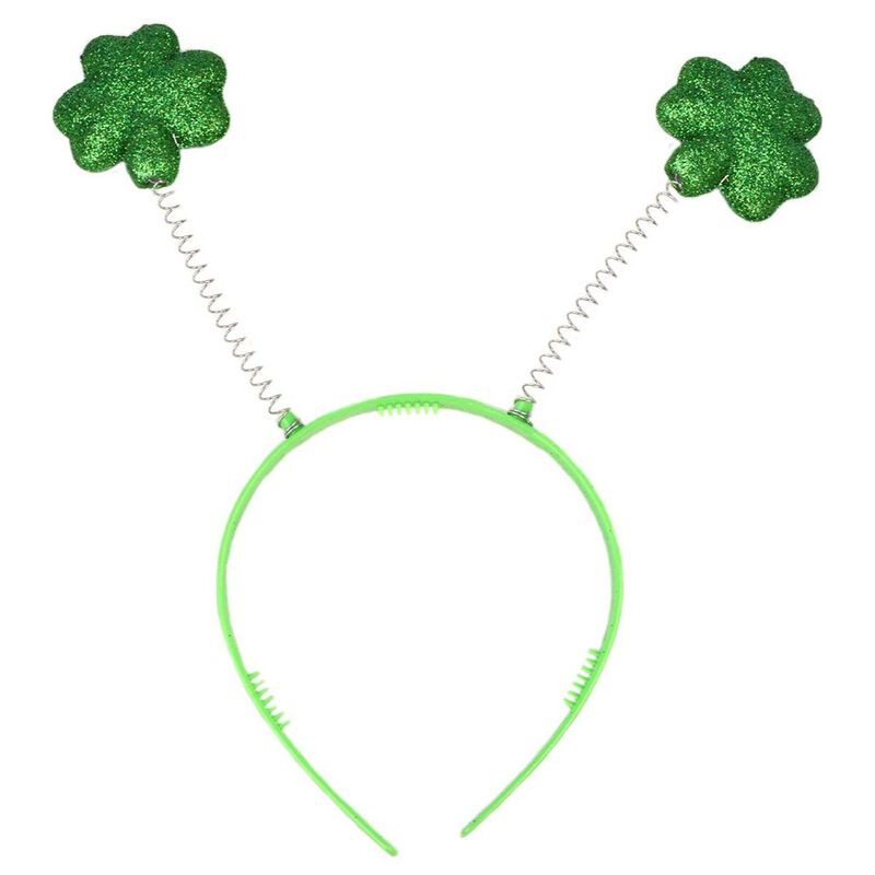 Green Irish Novelty Head Boppers With Glittery Shamrock Design