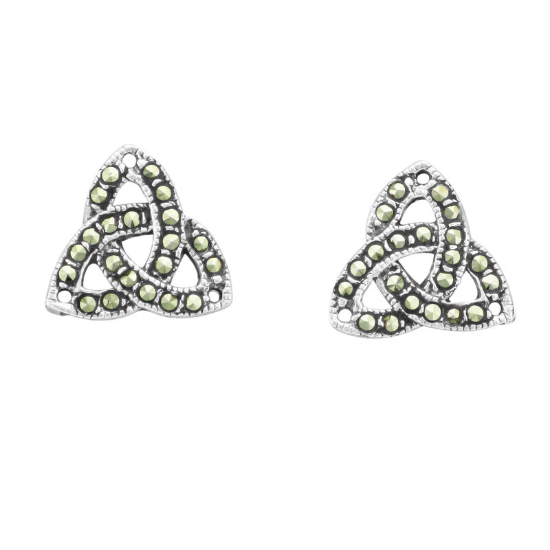 Hallmarked Sterling Silver Marcasite Trinity Knot Stud Earrings  Presented In A Box