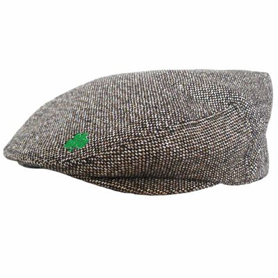 Irish Designed Valentia Island Flat Cap With Small Shamrock Print  Brown Colour