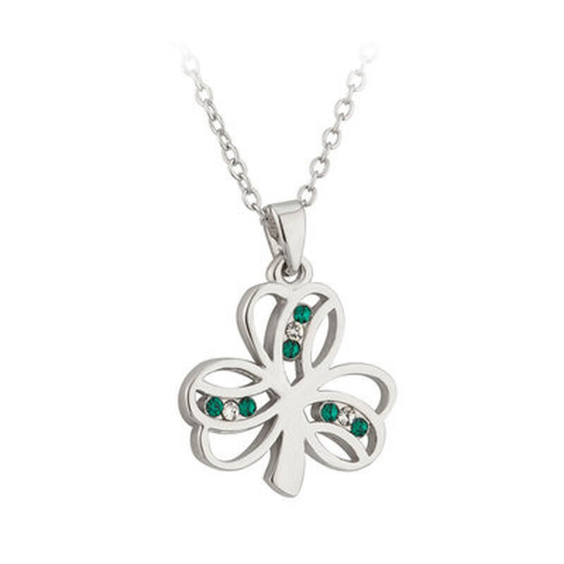 Rhodium Plated Shamrock Pendant With Green And White Crystals