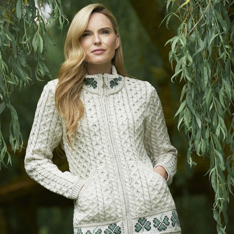 100% Merino Wool Zip Cardigan With Shamrock Design  Oatmeal Colour
