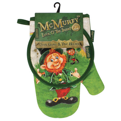 McMurfy Luck O' The Irish Leprechaun Designed  Oven Glove and Pot Holder
