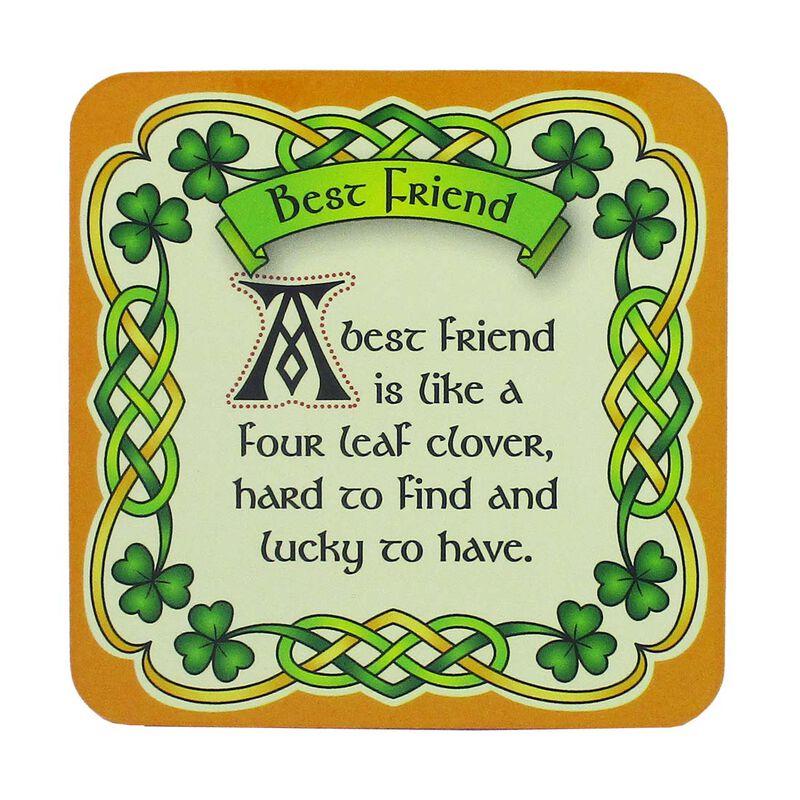 Irish Celtic Coaster With Best Friend Design And Shamrock Design