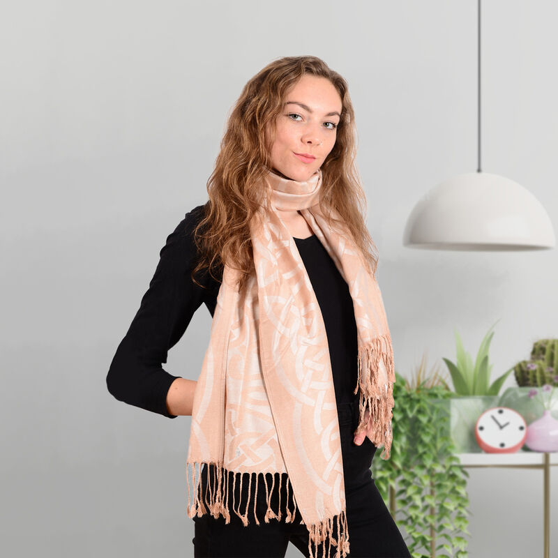 Traditional Pashmina Scarf With Celtic Knotwork Design  Pink Colour