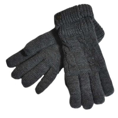 Man Of Aran Cable Knit Gloves With Embossed Metal Shamrock  Dark Grey Colour